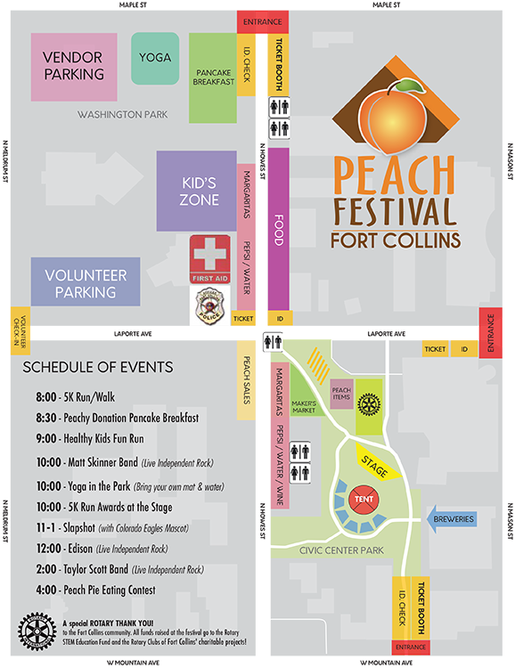 Ft. Collins Peach Festival - traffic map - vicinity of St. Joseph Catholic Church - Ft. Collins - CO